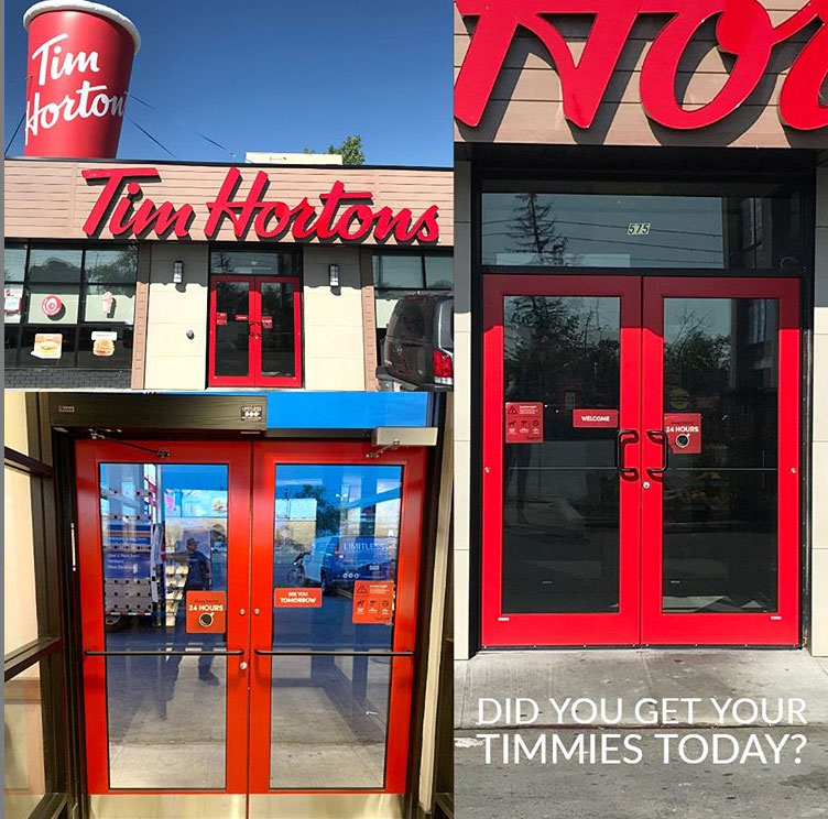 Tim Hortons Front Entry Door Installer Alberta Calgary